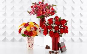Picture flowers, bouquets, vases