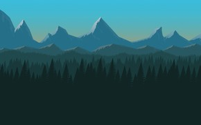 Picture Minimalism, Mountains, Forest, Hills, Landscape, Art, Mountains, Minimalism, Forest, Flat Design Background, Yoan Agostini, by ...