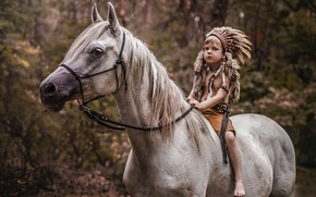 Picture mood, horse, boy, Indian