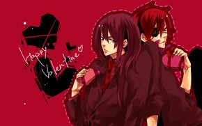 Picture gift, anime, art, hearts, guys, red background, characters, D.Gray-man, Valentine's day