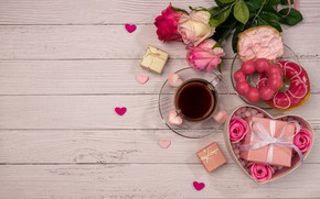 Picture tea, roses, bouquet, Cup, gifts, donuts, Valentine's day
