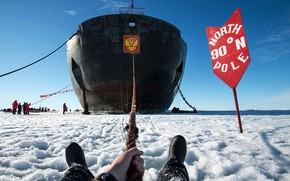 Picture The sky, Winter, Ice, People, Day, Icebreaker, The ship, Russia, Ice, Nose, The end, 50 …