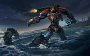Picture sea, fiction, robot, giant, pacific rim, jaeger