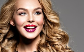 Picture look, face, smile, model, portrait, makeup, lipstick, hairstyle, blonde, curls, curls, model, makeup, lipstick, Valua …