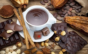 Picture sweets, Cup, candy, chocolate, beans, nuts, nuts, chocolate, cocoa