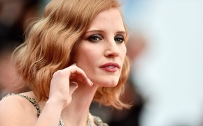 Picture look, pose, hand, portrait, makeup, actress, hair, Jessica Chastain, Jessica Chastain