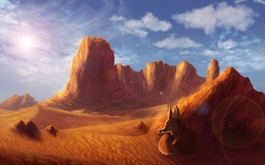 Picture nature, desert, Fox, by CreeperMan0508