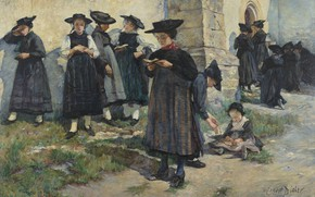 Picture 1886, oil on canvas, Swiss painter, Ernest Biéler, The Church of Saint-Germain in Saviese, At …