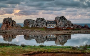 Picture sea, grass, water, landscape, machine, clouds, nature, house, reflection, stones, rocks, France, village, boulders, Brittany, …