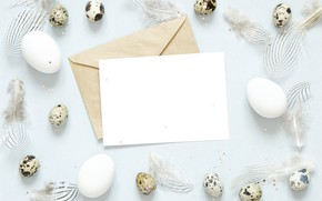 Picture holiday, eggs, feathers, Easter, the envelope