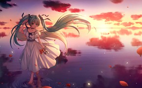 Picture horizon, calm, bows, vocaloid, Hatsune Miku, white dress, long hair, Vocaloid, on the water, the …