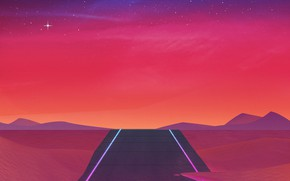 Picture The sky, Road, Music, Stars, 80s, Neon, 80's, Synth, Retrowave, Synthwave, New Retro Wave, Futuresynth, …