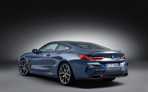 Picture background, coupe, BMW, side, rear view, Coupe, 2018, gray-blue, 8-Series, pale blue, M850i xDrive, Eight, …