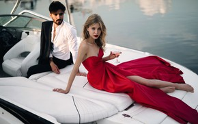 Picture model, glass, boat, pair, fashion