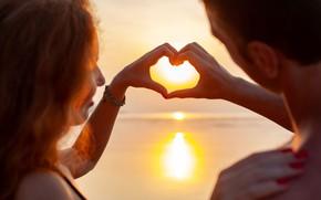 Picture GIRL, PAIR, The SUN, HANDS, HEART, LIGHT, LOVE, GUY, FINGERS