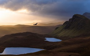 Picture the sky, light, mountains, nature, bird, morning, flight