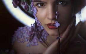 Picture face, portrait, Girl, petals, flowers, Alexander Drobkov-Light, Julia Khudoleeva