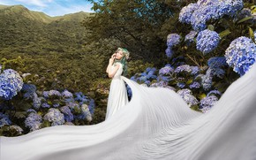 Picture summer, girl, flowers, mountains, nature, pose, tree, white, foliage, garden, belt, fabric, Asian, the bride, …