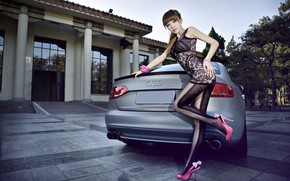 Picture auto, look, Girls, Asian, beautiful girl, posing on the car, Audi A4L