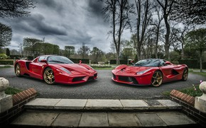 Wallpaper Ferrari, Evolution, Enzo, And, Laferrari, Roso Corsa