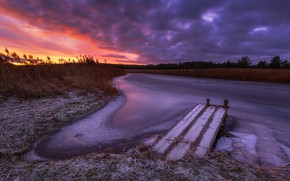 Picture winter, the sky, sunset, river, Antson Elvis