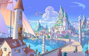 Picture the city, ship, fantasy, witch, broom, floating island
