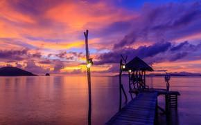 Picture sea, beach, summer, the sky, sunset, pierce, summer, beach, sky, sea, sunset, pink, seascape, beautiful, …