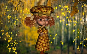 Picture forest, Autumn, girl