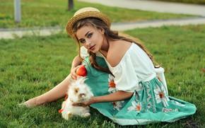 Picture grass, look, girl, pose, rabbit, hat, shoulder, Alina Stanislavsky, Alina Bozhko