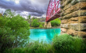 Picture bridge, river, HDR, home, New Zealand, bridge, Emerald