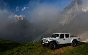 Picture white, the sky, clouds, mountains, SUV, pickup, Gladiator, 4x4, Jeep, Rubicon, 2019, at the cliff