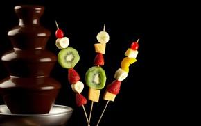 Picture kiwi, strawberry, bananas, fruit
