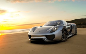 Picture beach, sunset, rendering, Porsche, supercar, Spyder, 918