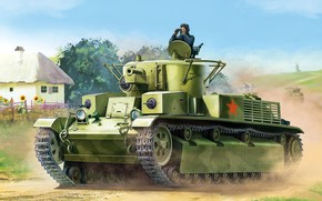 Picture USSR, Tank, Soviet, The red army, Average, The Red Army, T-28, Tanker