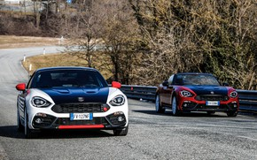 Picture Roadster, spider, black and white, Abarth, on the road, black and red, 124 Spider, 2019, …