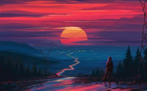 Picture sunset, figure, art, art, Aenami, by Aenami, Alena Aenam The, by Alena Aenami, Aenami Art, …