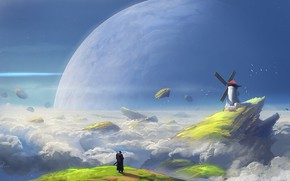 Wallpaper Clouds, Figure, Mill, Planet, Art, Art, Fiction, Illustration, Denis Loebner, by Denis Loebner, Asteroid belt, ...