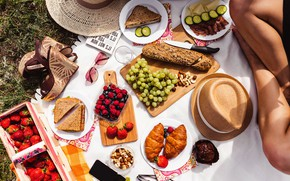 Picture summer, girl, raspberry, hat, strawberry, glasses, bread, grapes, phone, fruit, picnic, nuts, croissants, sandwiches