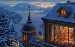 Picture oil, Eugene Lushpin, «Возвращение домой на Рождество»