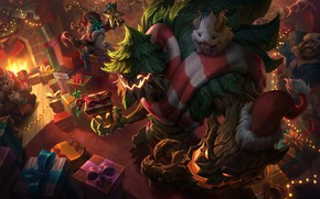 Picture Christmas, creatures, gifts, New year, fireplace, League Of Legends, Maokai