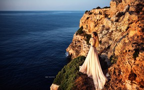 Picture sea, girl, the sun, pose, rocks, dress, Miki Macovei Come With