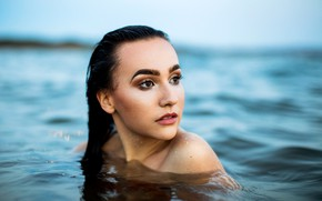 Picture sea, portrait, wet, makeup, brunette, hairstyle, beauty, in the water, bokeh, Isabella, Sergey Bidun