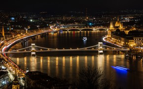 Picture night, bridge, lights, river, home, Hungary, Budapest