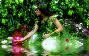 Picture water, girl, flowers, lake, photoshop, ruffle, photoart