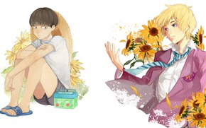 Picture sunflowers, flowers, anime, art, guys, Mob Psycho 100, Kageyama Shigeo, Mob psycho 100