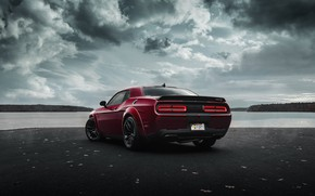 Picture Dodge, Challenger, rear view, Hellcat, SRT, Widebody, 2019, by Jimmy Zhang