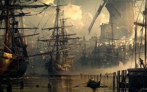 Picture boat, ships, port, mill, harbour