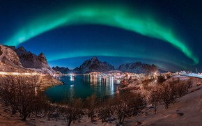 Picture mountains, night, the city, lake, Northern lights
