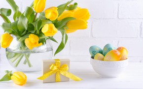 Picture holiday, gift, Easter, tulips, vase, composition, egg