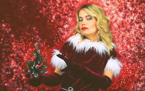 Picture look, pose, glare, background, holiday, new year, Christmas, makeup, dress, hairstyle, blonde, gloves, maiden, fur, …